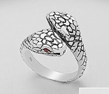 Mens NEW 18mm Wide Solid Sterling Silver Red CZ Snake Ring Size 12 SEXY 11.2g