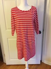 Boden Sz 14 Breton Striped Pink Tunic Dress Pockets Cute! EUC