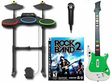 PS3 Rock Band 2 Complete Set Bundle w/NEW Wireless Guitar Kit hero drum game CRA