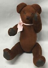 Pink Bow brown teddy bear By Bell Bears handmade Primitive Jointed limbs 11""