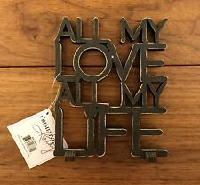 ALL MY LOVE ALL MY LIFE wooden word art 4-1/2 x 5-1/2 Primitives by Kathy