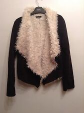 ��Select��Size 8 Black /off White FAUX FUR FAUX SUEDE COAT / JACKET Small