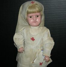 "SCHOENHUT NURSE DOLL - 16"" - ORIGINAL CLOTHES, SHOES & STAND!! - NAILED ON WIG!!"