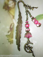 Beaded Bookmark Moon Fairy Flowers Handmade Bronze Designs Gift Idea