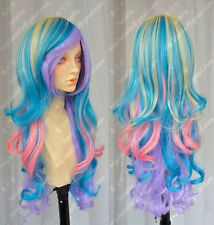COS Vocaloid fancy made wig Rainbow multicolour light blonde mix long hair wigs