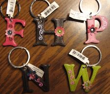 Leather Initial Keyring F-H-N-O-W  by Ganz