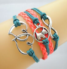 Pretty Infinity/Dog/Double Hearts Charms Leather Braided Bracelet Teal/Orange