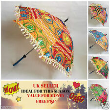 5 Pc Lot Decorative Indian Hand Embroidered Parasol Vintage Sun Shade Umbrella