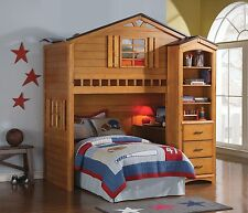 """Acme """"Tree House"""" Oak Bunk Bed Loft W/ Twin Bed And Desk Furniture 10160/ 10163"""