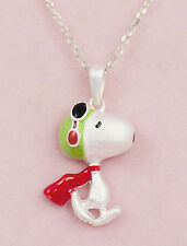 Snoopy (Peanuts Character) Pendant Charm 925 Silver Enamel 11mm High