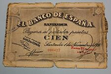 1936 SANTANDER 100 PESETAS BANCO DE ESPAÑA BANKNOTE SPAIN CIVIL WAR,,