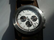 Fossil mens chronograph brown leather band Analog,quartz & battery watch.Ch-2857