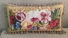 "Floral Aubusson Style 100% Wool Handmade Needlepoint Decorative Pillow 16""x26"""