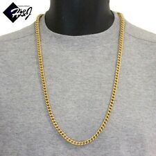 "30""MEN's Stainless Steel 6mm Gold Franco Box Cuban Curb Chain Necklace*93g"
