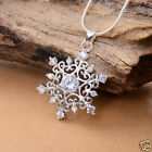 """Silver plated """"SNOWFLAKE"""" crystal on necklace pendant For lover No chain"""