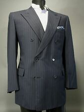 BRIONI Navy Blue Pinstriped Double Breasted Suit Sport Coat 44 R 150s Wool