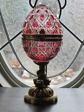 Faberge Cased Crystal Egg with Football