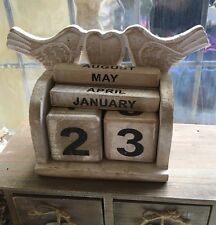 Shabby Chic Rustic Wooden Perpetual Calendar Month Date Natural Birds
