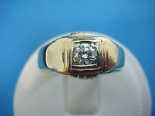 ! VINTAGE GYPSY RING, 14K YELLOW GOLD, 6.1 GR. GENUINE 0.25 CT ROUND DIAMOND.