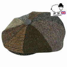 Genuine Harris Tweed 8 Piece Patchwork BakerBoy/Gatsby/NewsBoy Cap M,L,XL,XXL