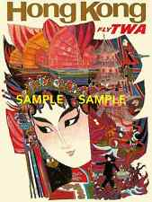 "TWA Jets Airline - 11"" X 17""  Travel Poster - [ HONG KONG ] -"