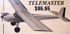 "Vintage TELEMASTER JR. 48"" RC Model Airplane PLAN With All Parts Patterns"