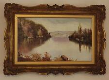 C1890 pintura al óleo Highland Loch escena escocés Dorado indistintamente Firmado Enmarcado.