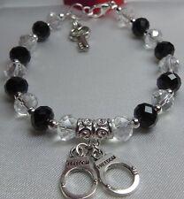"""50 Shades of Grey Handcuffs & Key Charm Black Clear Crystal Bead Bracelet 7.5"""""""