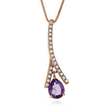 1.20 Ct Amethyst White Topaz Pendant Rose Gold-Plated Sterling Silver w/Cha