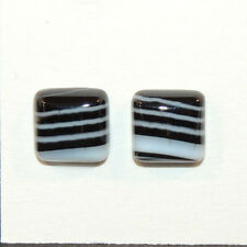 Black and White Agate 12x12mm with 5mm dome Cabochons Set of 2 (12135)