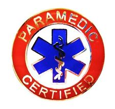 Paramedic Certified Collar Pin Device Blue Star of Life Uniform 62 S2 Silver Red