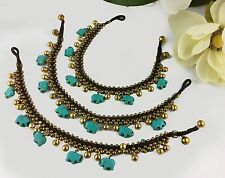 Gypsy Anklet Gold Bells Turquoise Elephant Charms 26/27cm Surf Festival BoHo