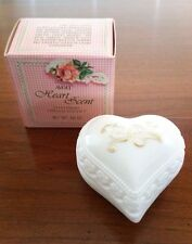 Vintage Avon Charisma Cream Sachet Milk Glass Heart Vanity Jar .66 oz NOS