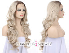 Women's Synthetic Wig Front Lace Ombre Dark Roots&Light Blond Wavy Heat Friendly