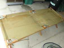 Vintage Army Military Folding Cot Bed Camping Hunting Reenactment Wood Canvas