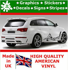 2 x Butterfly Flowers Stickers Large Side Strips Tribal Car Vinyl Race Car Decal