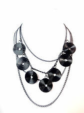 LADIES CHUNKY BLACK MULTI LAYER NECKLACE NEW UNIQUE STUNNING (ST89)