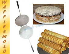 METAL MOLD FOR SWEET WAFFLES WAFER MAKER PLATE + RECIPE IN ENGLISH