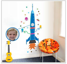 Spaceship Rocket Height Chart Wall Stickers Kids Measurement Wall Decals