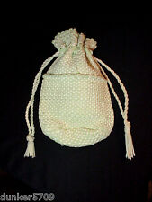 "1950'S POTHOLDER STYLE BAG PURSE GREEN AND WHITE UNBRANDED 10"" BY 8"" BY 5"" USED"