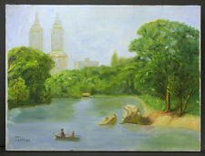 Mid 20th C Folk Art Painting Lake in Central Park, San Remo Towers Mary Martens