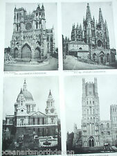 ANTIQUE PRINT DATED 1926 ARCHITECTURE CATHEDRALS ST. PAUL'S LONDON ELY BURGOS