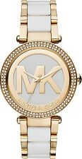 NEW Michael Kors Parker MK6313 Gold / White Logo Dial Wrist Crystal Women Watch