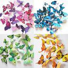 12Pcs 3D Butterfly Wall Decals Removable Sticker Kids Art Nursery Decor Magnets