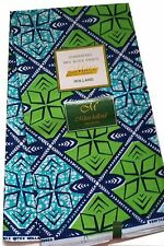 Mitex African Fabric Supreme Wax Guaranteed Holland Bleu and Green 6 yards