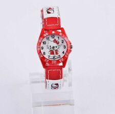 Kids Girls Hello Kitty Red Wrist Watch Analog Leather Strap UK SELLER
