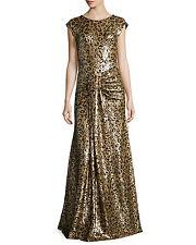 ZAC POSEN Sz 0 NWT WOMEN DRESS FORMAL GOWN LEOPARD GOLD METALLIC SEQUIN