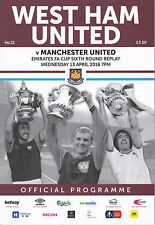 WEST HAM UNITED V MANCHESTER UNITED FA Cup replay 13/4/16 (2015-2016)
