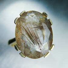 7.60cts Natural Rutile Quartz golden needle 9ct 375 yellow gold engagement ring