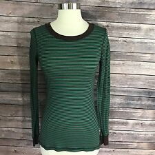 Daytrip Top Size Small Tee Shirt Striped Green Brown Long Sleeve Womens